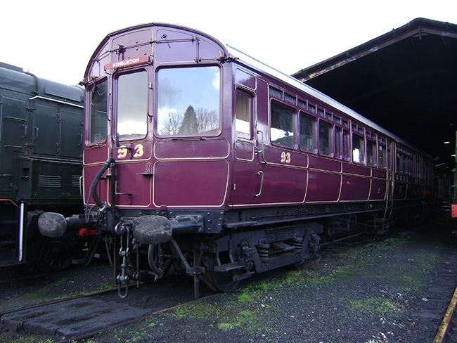 Steam Rail Motor No93 on shed at Bfl